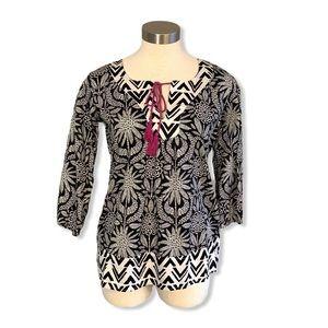Hatley Popover Shirt Tunic Black White Floral